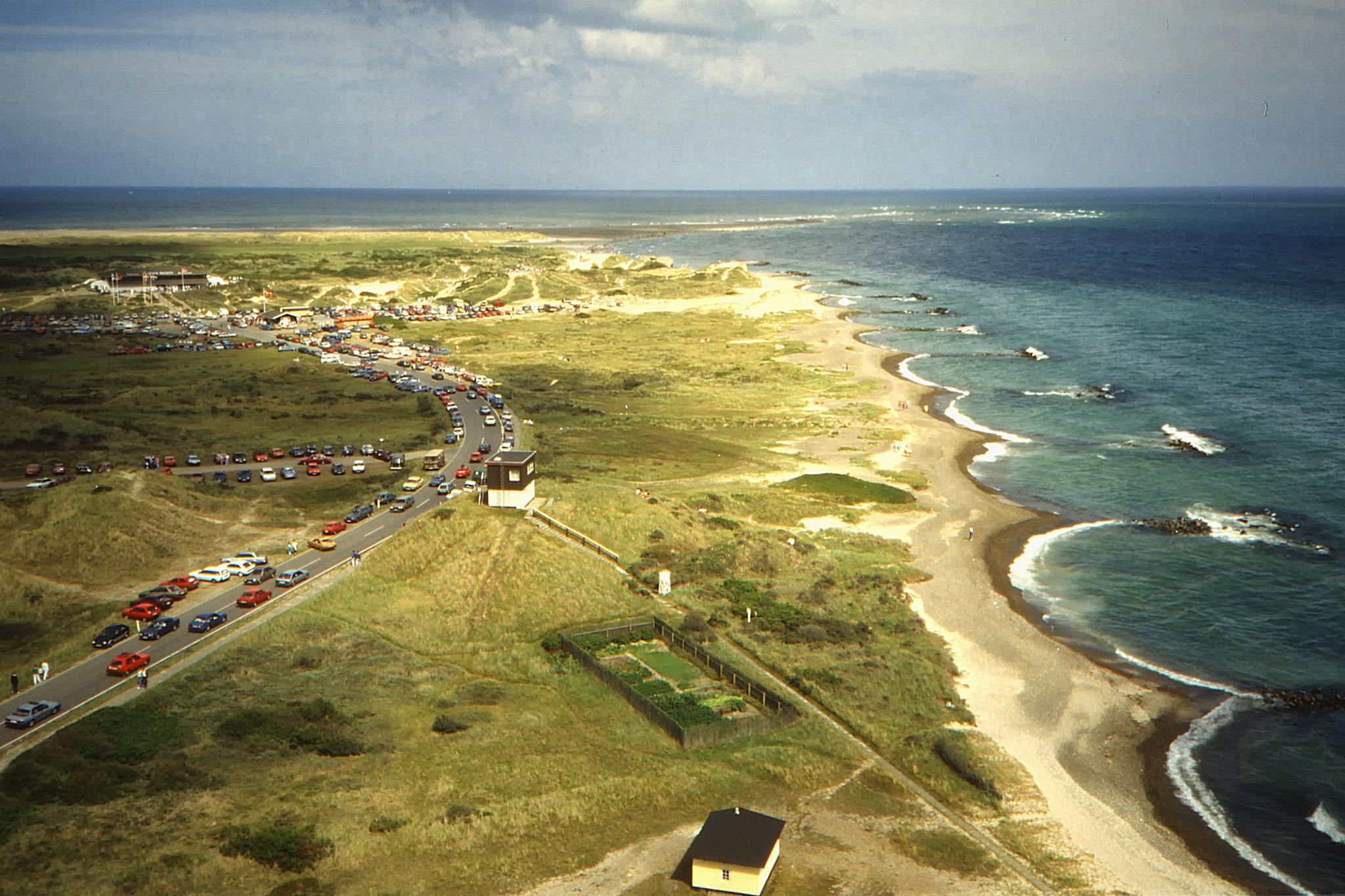 Skagens udde med Grenen sett från Skagens fyr.
