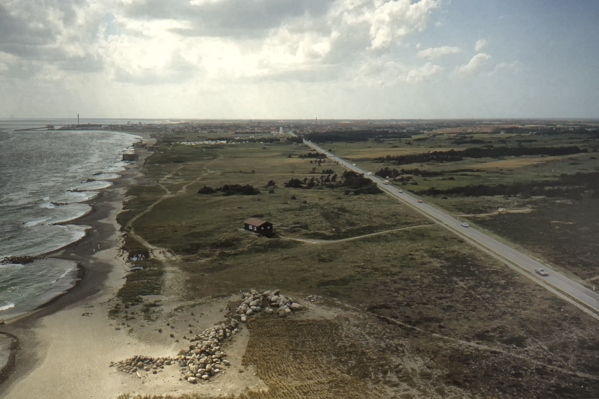 Utsikten från Skagens fyr mot Skagen.