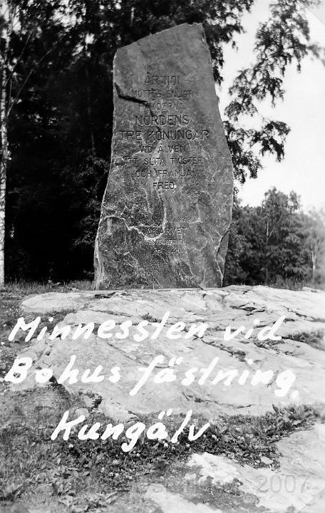 Minnessten vid Bohus fästning i Kungälv
