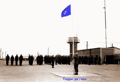 Flagghissning på Camp Tre Kronor.