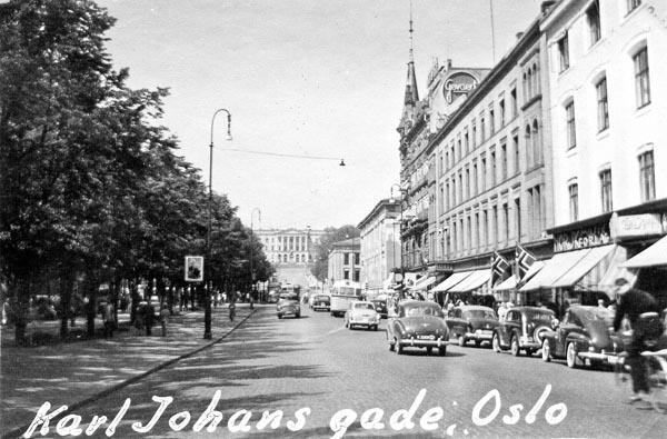 Framme i Oslo. Karl Johans Gade.