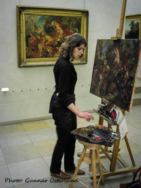 En konststuderande som kopiera en målning.