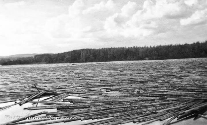 Timmer vid Bomsund. Man flottade timmer i Indalsälven.