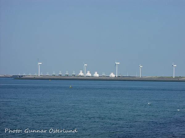 Damm med vindkraftverk i Scheldedeltat i Nederländerna.