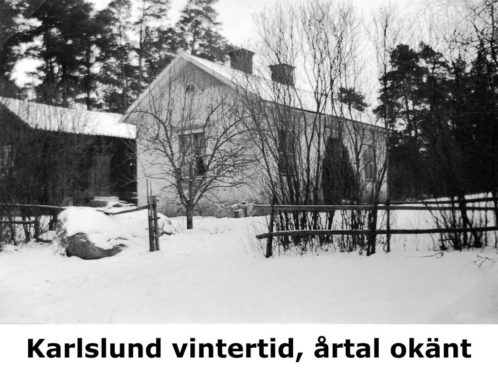 Karlslund på vintern. Okänt årtal.