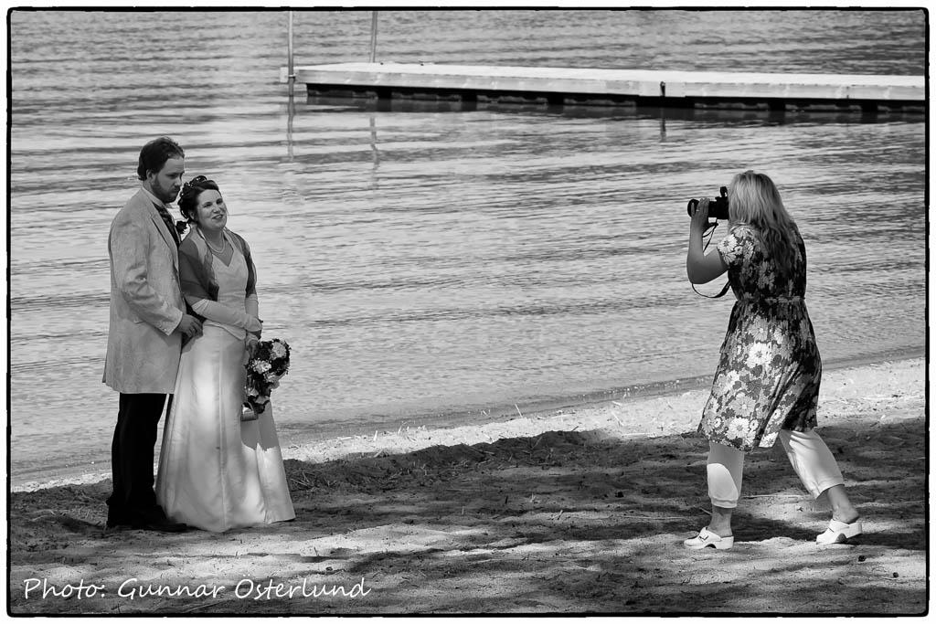 Bröllopsfoto vid Sundbyholmsbadet.