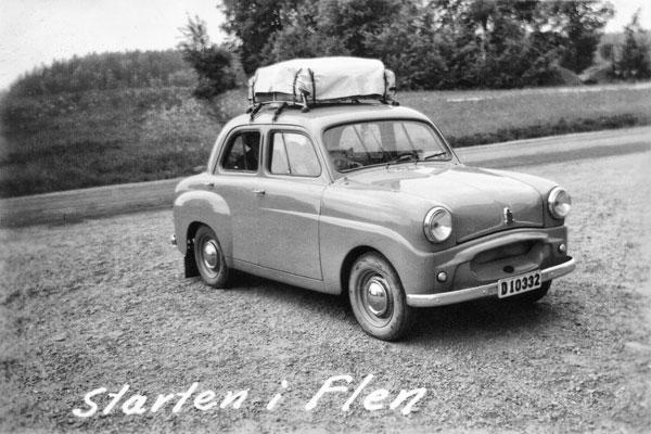 Bilen vid starten från Flen 24/6 1954