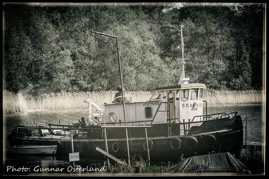 En gammal bogserbåt i Eldsunds hamn.