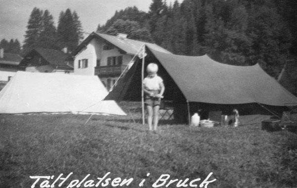 Sylvia på campingplatsen i Bruck.