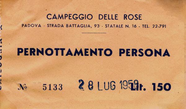 Biljett från motorvägen mot Padova.