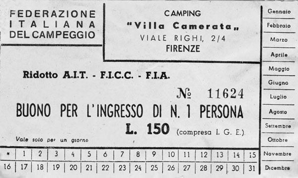 Campingbiljett från Florens.