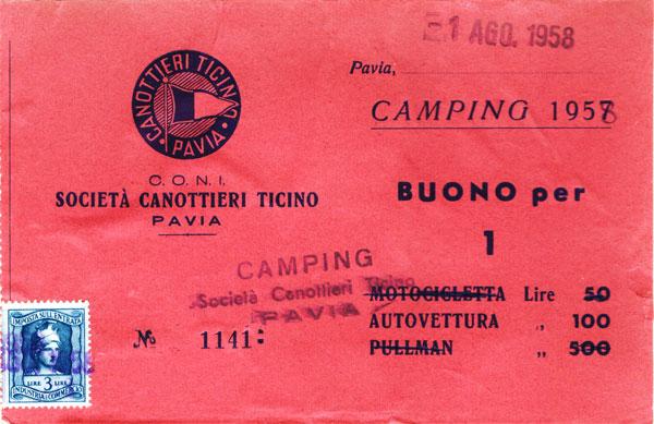 Campingbiljett från Pavia.