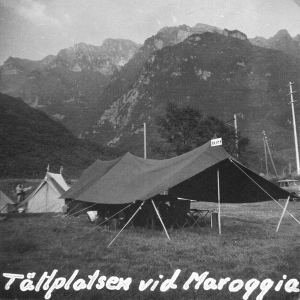 Tältet på campingen vid Maroggia.