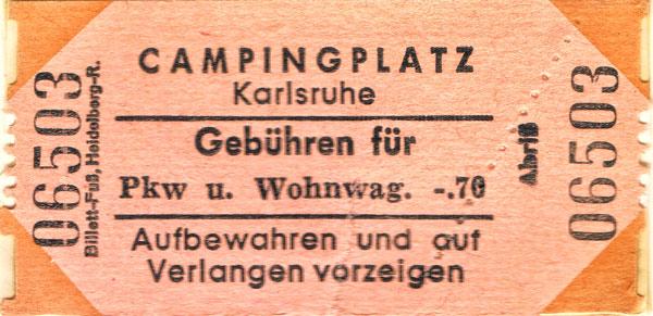 Campingbiljett från Karlsruhe.