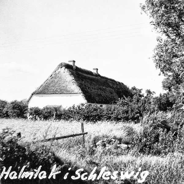 Hus med halmtak i Schleswig.