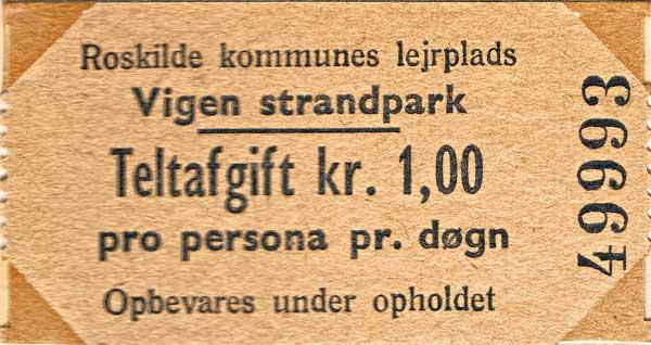 Campingbiljett från Roskilde.