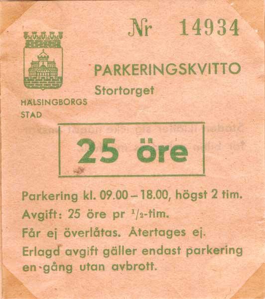 Parkeringskvitto från Helsingborg.