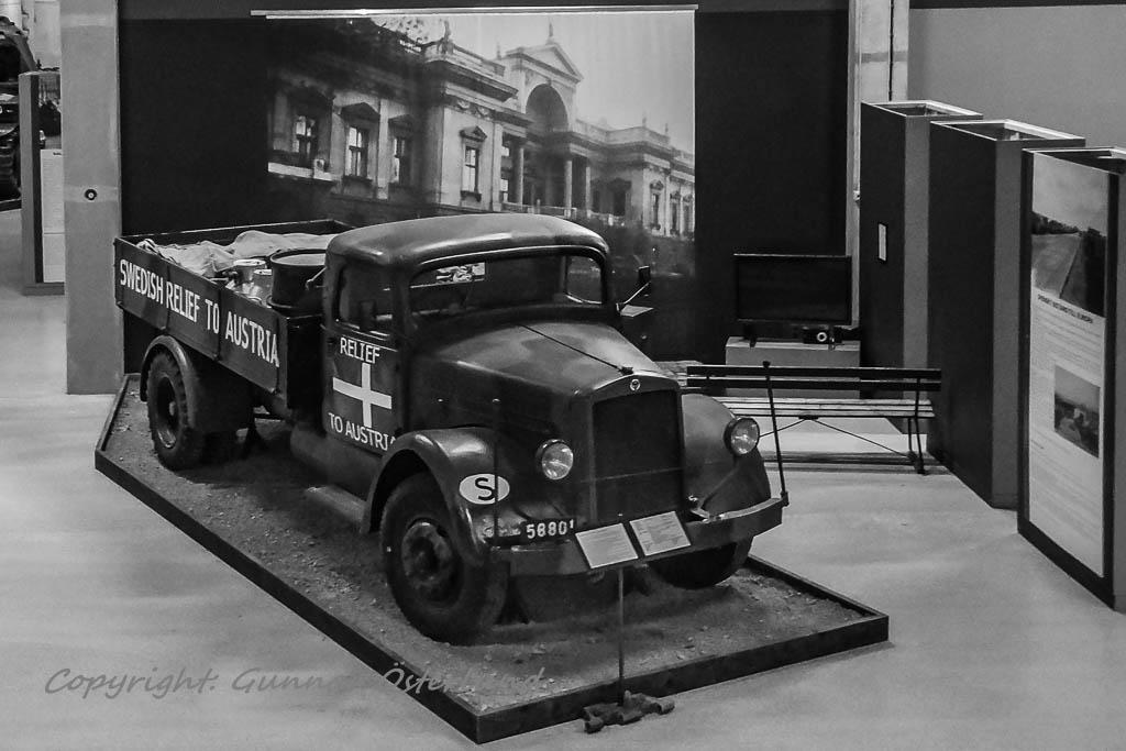 En Scania Vabis-lastbil från Österrikehjälpen.