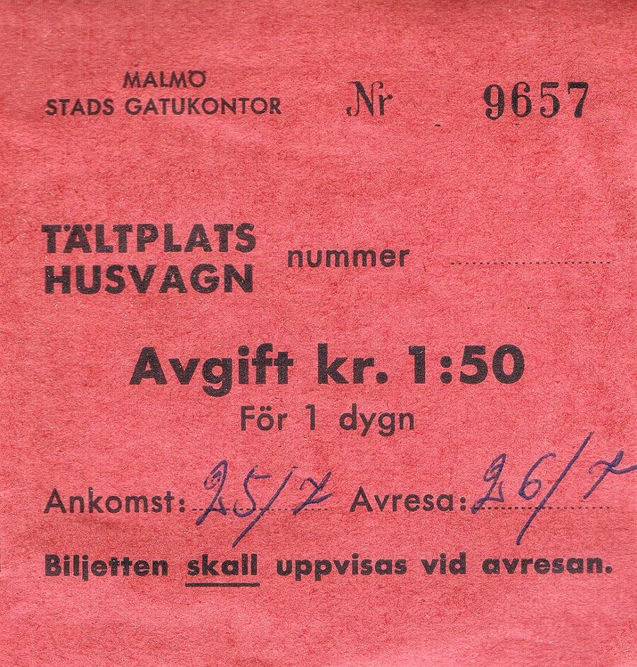 Campingkvitto från Ribersborgs Camping i Malmö