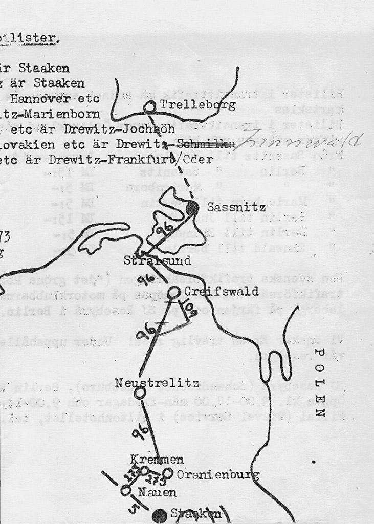 Karta visande tillåten färdväg genom DDR.