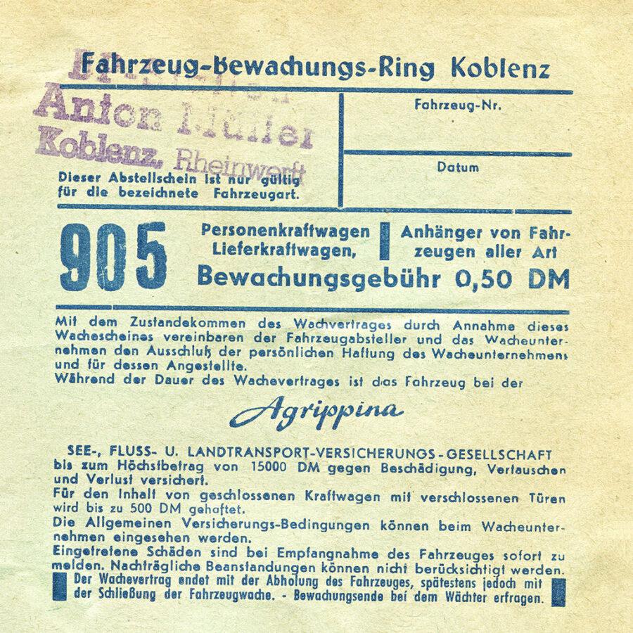 Parkeringskvitto från Koblenz.