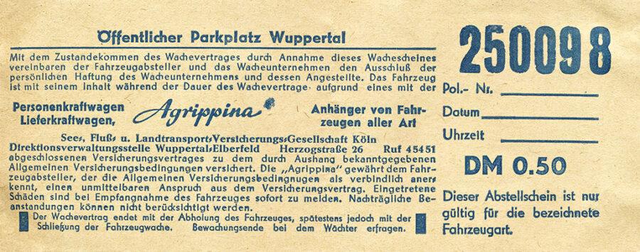Ett parkeringskvitto från Wuppertal.