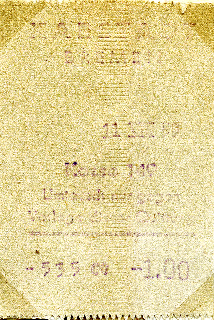 Kvitto från varuhuset Karstadt i Bremen.