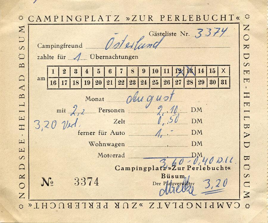 Campingkvitto från övernattningarna i Büsum.