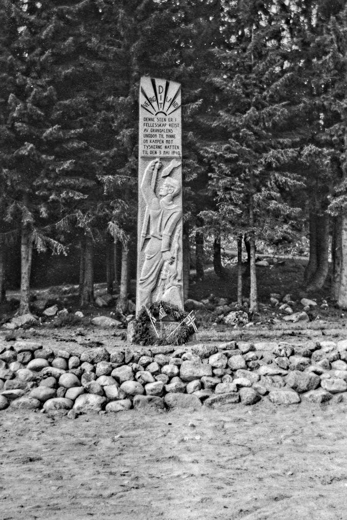 En minnessten från kriget i Gröndalen, Norge.
